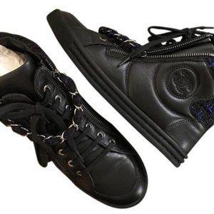 Chanel Cc Logo High Top Sneakers Sz 37